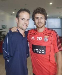 Javier Hernández con Pablo Aimar