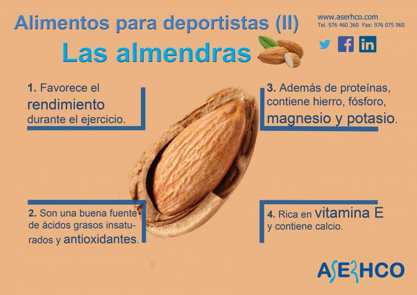 Las almendras nos aportan importantes cantidades de fibra, proteínas, minerales, vitaminas del grupo B, vitamina E, grasas saludables.